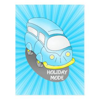 Skåpbil för vägresablått vykort