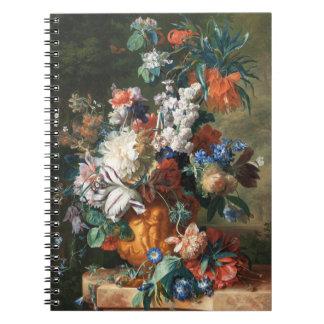 skåpbil Huysums Bukett av blommor i en Urn Anteckningsbok Med Spiral