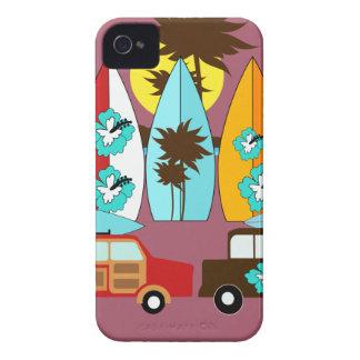 Skåpbilar för Hippie för surfingbrädastrand dåliga iPhone 4 Case-Mate Fodral
