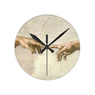 Skapelse av Adam händer - Michelangelo Rund Klocka