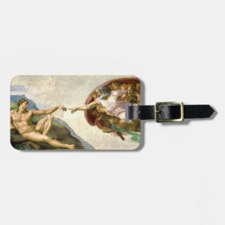 Skapelsen av Adam vid Michelangelo konst Bagagebricka