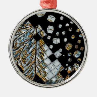 Skära i tärningar abstraktfjädrar julgransprydnad metall
