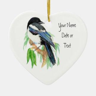 Skata prydnad som ska skräddarsy, fågel, natur hjärtformad julgransprydnad i keramik