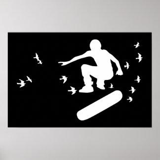 skateboard med fåglar poster