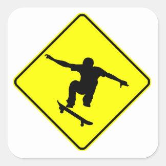 Skateboarderkorsning Fyrkantigt Klistermärke
