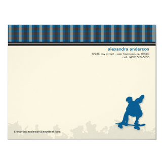 Skater Boy Customized Flat Note Cards (blue) Personalized Invite