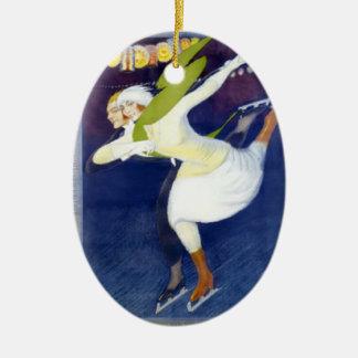 Skater från en italiensk affisch för vintage julgransprydnad keramik