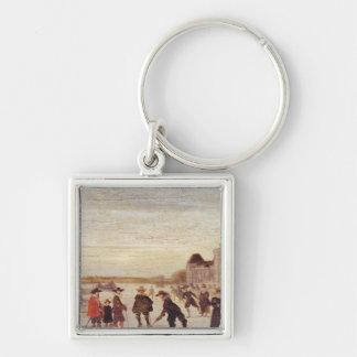 Skater på Seinen i 1608 Fyrkantig Silverfärgad Nyckelring
