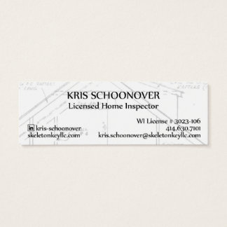 Skeleton Key Tag Mini Business Card Litet Visitkort