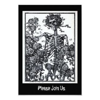 Skelett- day of the dead Halloween för vintage 8,9 X 12,7 Cm Inbjudningskort