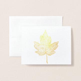 Skelett- hälsningkort för guld- lönnlöv folierat kort