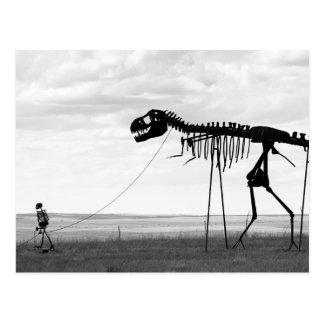 Skelett- man som går den skelett- dinosauren, SD Vykort