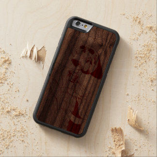 skelett med hatten och tien carved valnöt iPhone 6 bumper skal