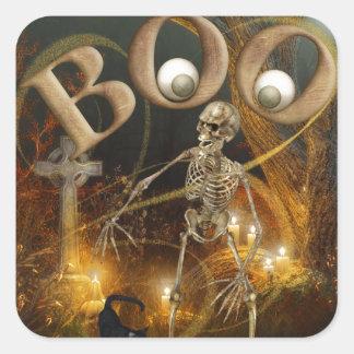 Skelett- och allvarliga Halloween Fyrkantigt Klistermärke