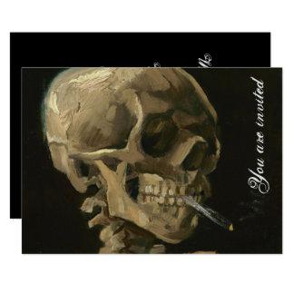 Skelett- skalle med den brinna cigaretten av Van 12,7 X 17,8 Cm Inbjudningskort