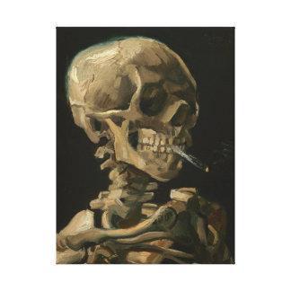 Skelett- skalle med den brinna cigaretten av Van Canvastryck
