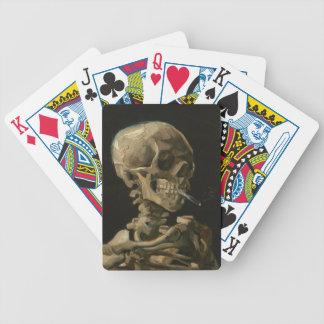 Skelett- skalle med den brinna cigaretten Van Gogh Spelkort