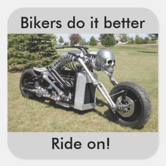 Skelett- stilklistermärke för motorcykel fyrkantigt klistermärke