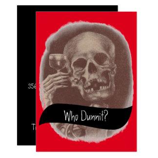 Skelett vem Dunnit? Gåtavininbjudningar 11,4 X 15,9 Cm Inbjudningskort