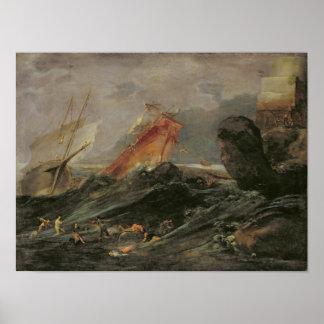 Skeppsbrott på en stenig kust, c.1645-50 poster