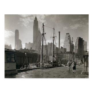 Skeppsdocka för vintageNew York City Fulton gata Vykort