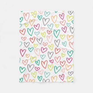 Sketchy hjärtaullfilt (regnbågen) fleecefilt