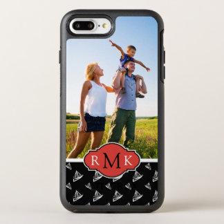 Sketchy segelbåtmönster   din foto & Monogram OtterBox Symmetry iPhone 7 Plus Skal