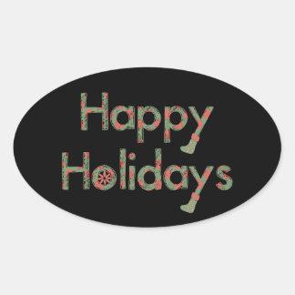 Sketchy text för glad helg ovalt klistermärke