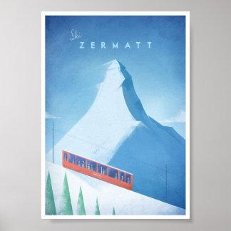 Skida den Zermatt vintage resoraffischen Poster