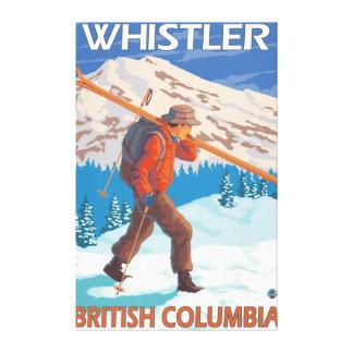 Skidar bärande snö för skieren - Whistler, BC Kana Canvastryck