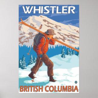 Skidar bärande snö för skieren - Whistler, BC Kana Poster