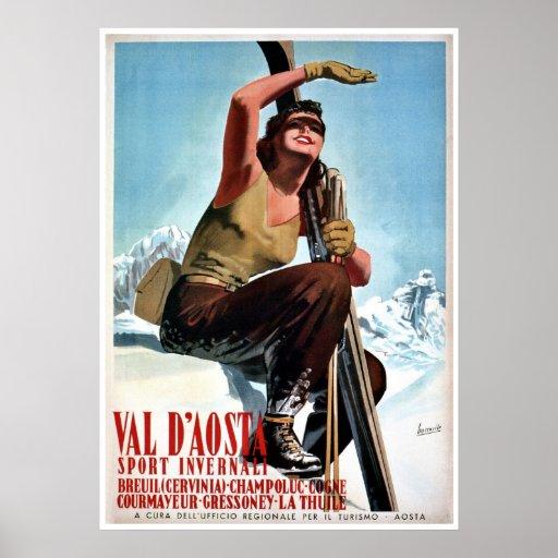Skidar italienska vintersportar för vintage reser  posters