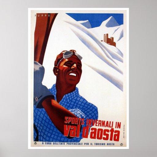 Skidar retro italienska vintersportar för vintage  posters