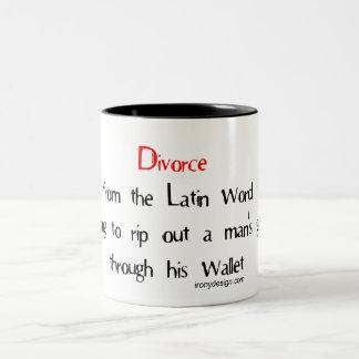 Skilsmässa från det menande latinska ord Två-Tonad mugg