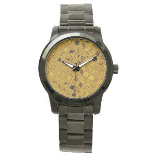 Skina metallisk gul diamant armbandsur