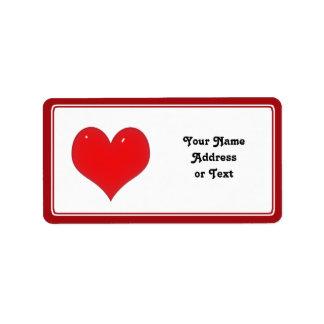 Skina röd hjärta av kärlek adressetikett