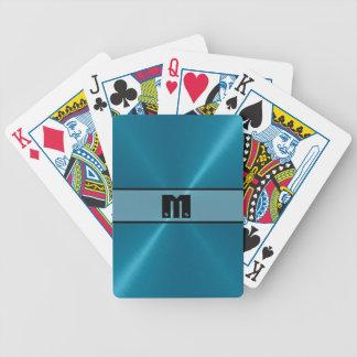 Skina rostfritt stålmetall 5 för blått spel kort