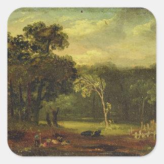 Skissa från naturen i Sion parkerar, 1819 (olja på Fyrkantiga Klistermärken