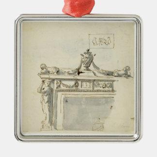 Skissad design för en spis (skriva & bläck och var silverfärgad fyrkantigt julgransprydnad