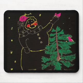 Skissad snögubbe med julgranen mus matta