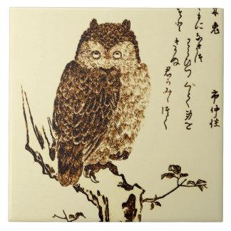 Skissar japanskt bläck för vintage av en uggla kakelplatta
