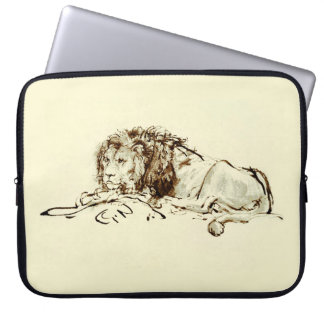 Skissar japanskt bläck för vintage av ett lejont laptop sleeve