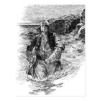 Skissar svartvita pirater för vintage, vykort