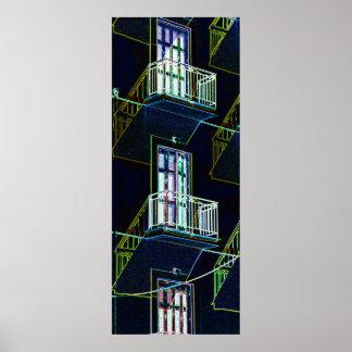 Skissera trappor, balkonger och Windows Poster