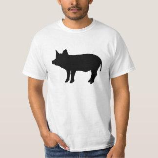 Skisserar den Piggy silhouetten för den svart Tee Shirt