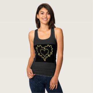 Skisserar gul lockig hjärta för neon w-/inhjärta tee shirts