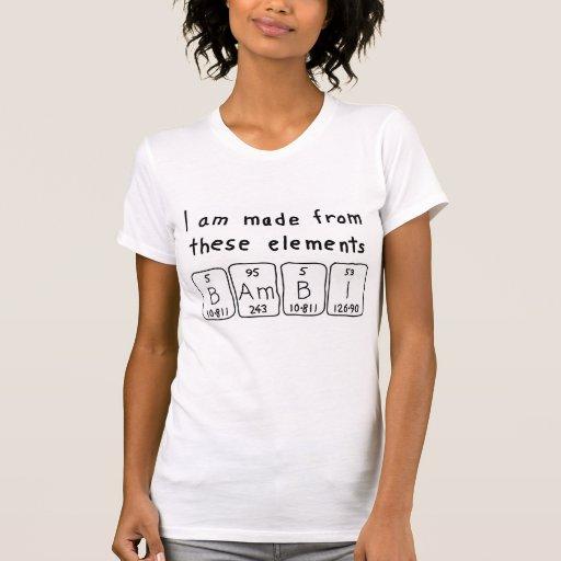 Skjorta för Bambi periodisk bordnamn T-shirts