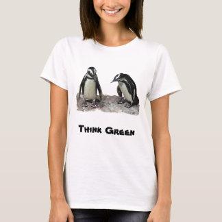 Skjorta för dag för jord för pingvintänkagrönt tshirts