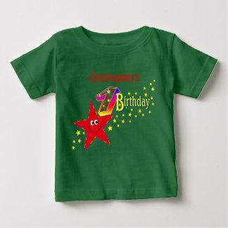 Skjorta för födelsedag för röd Smileystjärna 1st T Shirts