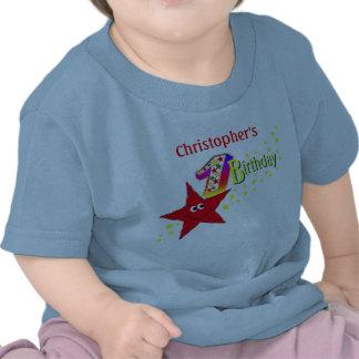 Skjorta för födelsedag för röd Smileystjärna 1st